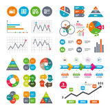 Accounting icons. Document storage in folders. Business data pie charts graphs. Accounting icons. Document storage in folders sign symbols. Market report Stock Image