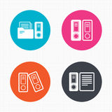 Accounting icons. Document storage in folders Royalty Free Stock Images