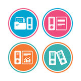 Accounting icons. Document storage in folders. Accounting report icons. Document storage in folders sign symbols. Colored circle buttons. Vector Royalty Free Stock Photography