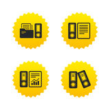 Accounting icons. Document storage in folders. Accounting report icons. Document storage in folders sign symbols. Yellow stars labels with flat icons. Vector Stock Photos