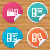 Accounting icons. Document storage in folders. Round stickers or website banners. Accounting report icons. Document storage in folders sign symbols. Circle Royalty Free Stock Image