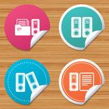 Accounting icons. Document storage in folders. Round stickers or website banners. Accounting icons. Document storage in folders sign symbols. Circle badges with Stock Photo