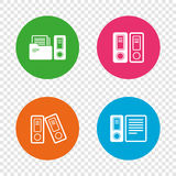 Accounting icons. Document storage in folders. Accounting icons. Document storage in folders sign symbols. Round buttons on transparent background. Vector Royalty Free Stock Images