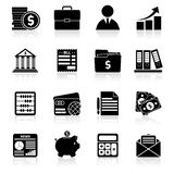 Accounting icons set black. Accounting money exchange budget savings stock black icons set isolated vector illustration Stock Photography