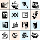 Accounting icons set black Stock Photos