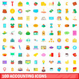 100 accounting icons set, cartoon style Royalty Free Stock Image