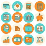 Accounting icons set flat line. Accounting investments savings billing flat line icons set isolated vector illustration Stock Photo