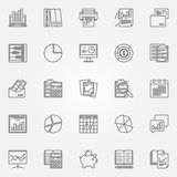 Accounting icons set. Vector analytics and research symbols in thin line style. Financial accounting, charts and graphs concept signs Royalty Free Stock Image