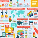 Accounting infographics set. With finance money charts and world map vector illustration Royalty Free Stock Image