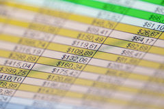 Accounting information on the screen. Accounting information on the LCD screen. Shallow depth of field, close up royalty free stock image