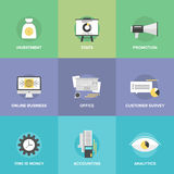 Accounting and investing flat icons. Flat icons set of investing money, corporate accounting, financial statistics, customer survey service, online business Stock Image