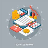 Annual Report Isometric Composition. Accounting isometric background composition of money notepad folders and calculator images with cumbersome diagram of growth Royalty Free Stock Photography