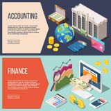 Accounting Isometric Banners Set. Set of two horizontal isometric accounting banners with editable text read more button and financial icons vector illustration Royalty Free Stock Images