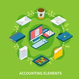Accountancy Isometric Round Composition. Accounting isometric composition with flat dollar signs and solid stuff icons representing different elements of Royalty Free Stock Image