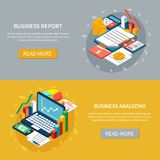 Business Analytics Banners Set. Accounting isometric horizontal banners collection with images of business organizer items laptop and financial graphs with text Royalty Free Stock Photo