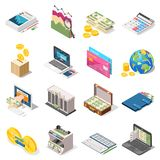 Accounting Isometric Icons Set. Accounting set of isometric icons with bank, loan online, money counter, analysis, planning, checkbook isolated vector Royalty Free Stock Photography