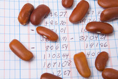 Accounting Ledger Book, Numbers, Pile Bean Counter. Red Kidney Beans on a Ledger Book.  Accounting Joke Stock Images