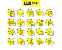 Accounting line icons. Set of Calculation, Check investment and Report. Vector vector illustration