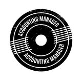 Accounting Manager rubber stamp. Grunge design with dust scratches. Effects can be easily removed for a clean, crisp look. Color is easily changed stock illustration