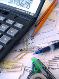 Accounting Mess. Accounting tools of the trade, all messed up stock photos