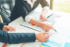 Accounting Officer team working and analysis data chart in office, Business and Office Concept. royalty free stock photography