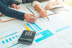 Accounting Officer team working and analysis data chart in office, Business and Office Concept. stock photography