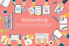 Accounting. Planning strategy, analysis, marketing research. Accounting. Vector flat design. Teamwork on accounting, planning strategy, analysis, marketing Royalty Free Stock Photography