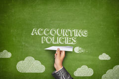 Accounting policies concept on blackboard with paper plane Royalty Free Stock Photography