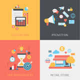 Accounting, promotion, time management, store flat web templates. Accounting, promotion, time management and retail store concept. Document, calculator, coins Royalty Free Illustration