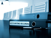 Accounting Records on Binder. Toned Image. Stock Images
