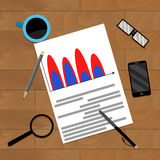 Accounting report business document. Analytics paper presentation, vector illustration Stock Photography