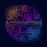 Accounting round bright illustration. Vector colorful business analysis and accounting concept symbol in thin line style on dark background Stock Photo