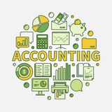 Accounting round colorful illustration. Vector business analysis and analytics symbol made with yellow word Accounting and flat icons Stock Images