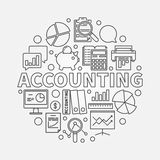 Accounting round linear illustration. Vector business analysis and accounting concept symbol in thin line style Royalty Free Stock Image