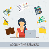 Accounting services flat illustration Stock Images