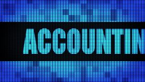 Accounting Services Front Text Scrolling LED Wall Pannel Display Sign Board. Accounting Services Front Text Scrolling on Light Blue Digital LED Display Board stock video