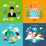 Accounting, Shopping, Logistic And Time Is Money Royalty Free Stock Image