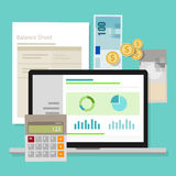 Accounting software balance sheet money calculator application laptop. Vector Stock Photos