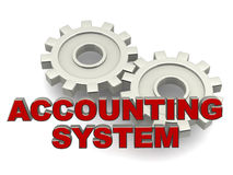 Accounting system. System of company or corporate accounts concept, accounting system words over metal gears and white background vector illustration