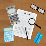 Accounting tax paying. Pay taxation, money transfer and tax document, vector illustration Royalty Free Stock Images