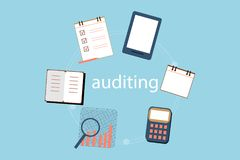 Accounting, taxes, audit, calculation, data analysis and reporting concepts. illustration flat design. Accounting, taxes, audit, calculation, data analysis and Royalty Free Stock Image
