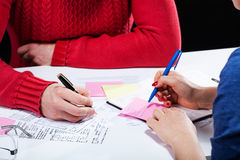 Accounting and taxes. A closeup of people doing accounting work and paying taxes Royalty Free Stock Photo