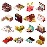 Accounting And Taxes Isometric Icons. With calculator cash money tax report coins online payment  real estate isolated elements vector illustration Stock Photos