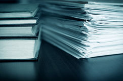 Accounting and taxes. Large pile of magazine and books closeup Royalty Free Stock Photography