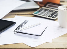 Accounting Tools with Agenda, Calculator and Pen.Office Financia royalty free stock image