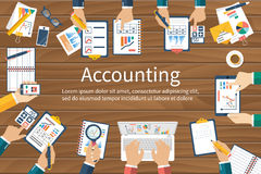 Accounting. Vector flat design. Teamwork on accounting, planning strategy, analysis, marketing research, financial management. Business meeting, teamwork Royalty Free Stock Images