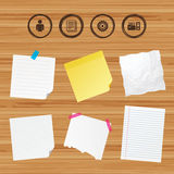 Accounting workflow icons. Human documents. Business paper banners with notes. Accounting workflow icons. Human silhouette, cogwheel gear and documents folders Royalty Free Stock Photography