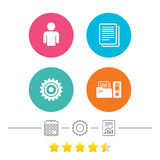 Accounting workflow icons. Human documents. Stock Image