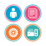 Accounting workflow icons. Human documents. Accounting workflow icons. Human silhouette, cogwheel gear and documents folders signs symbols. Colored circle Stock Photos