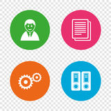 Accounting workflow icons. Human documents. Accounting workflow icons. Human silhouette, cogwheel gear and documents folders signs symbols. Round buttons on Stock Photos